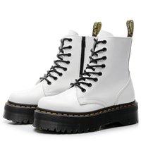 stiefel frauen schwarzes patent großhandel-Schwarz Jason Martins Stiefel Frauen Thick Plattform Zipper-Ankle-Boots Frauen Weiß Lackleder Winter-flache Schuhe