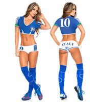 vestidos cortos deportivos al por mayor-Lady Football Baby Cheerleader Disfraz Sexy Sport Baby Cheering Fancy Dress New Top Shorts Set Jugador Uniforme de Fútbol Ropa