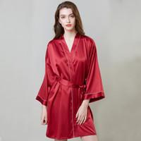 satılık bornozlar toptan satış-Pijama sıcak satış artış düğün ipek gecelik kadın yaz uzun kollu elbise bornoz buz ipek bornoz ev giysileri ücretsiz kargo