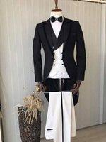 утренний стиль куртки оптовых-Фрак / утренний стиль жениха смокинги жениха пика отворотом лучший мужской костюм свадебные / мужские костюмы жених (куртка + брюки + жилет + галстук) A540