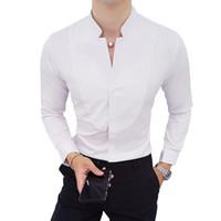 vestido de manga comprida de casamento branco venda por atacado-Preto Vermelho Branco Longo-sleeved mens Camisas de Vestido Magro Elegante camisa dos homens da Juventude de Casamento Camisa Formal homens