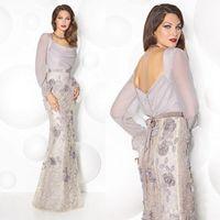 vestidos de novia de lavanda para la novia madre al por mayor-Sirena madre larga de la manga de los vestidos de novia 2020 Antiguo Lavanda 3D del cordón floral de espalda desgaste de la tarde Vestidos formales de la boda vestido de visitantes