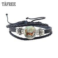 лиса браслет оптовых- Vintage  Glass Cabochon Bracelet Fashion Jewelry Black Leather Bracelet Bangle For Women Leather Cord NS229