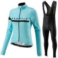 bisiklet uzun kadınlar kurar toptan satış-2019 Morvelo kadın uzun kollu bisiklet forması bisiklet elbise gömlek önlük pantolon set bisiklet giyim mtb ropa maillot ciclismo mujer