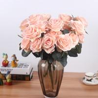 ramo de rosas falsas al por mayor-Seda Artificial 1 Manojo Francés Rosa Ramo Floral Flor Falsa Organizar Mesa Margarita Flores de La Boda Decoración Del Partido Accesorios Flores