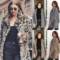 ingrosso cardigan soffici-Hirigin 2018 Le più nuove donne calde invernali Leopard Fluffy Fleece Jacket Coat Cardigan Jumper con cappuccio Top Clubwear
