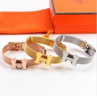 ingrosso braccialetti in plastica diy-2019 Designer Branded Coppia Collana Moda Luxuries H Lettera bracciale in acciaio al titanio placcato in oro 18 carati per il regalo di compleanno