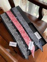 двусторонняя лента оптовых-2019 новый шелковый шарф женская узкая сумка ручка шелковое полотенце двойное лицо печатных твила ленты бренда маленькая лента 120 * 8 см
