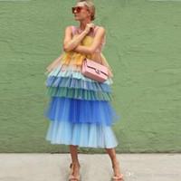karışık renkli gece elbiseleri toptan satış-2019 Yeni Katmanlı Tül Gelinlik Modelleri Karışık Renk Chic Abiye Çay Boyu Özel Durum Törenlerinde