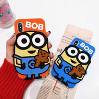 Wholesale minion iphone cases online – custom Cute Minion Couple Godstealing Dad Mobile Phone Shell Cartoon Silicone Protective Cover for iphone PLUS X XS XR XSMAX
