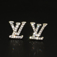 Wholesale earring pearl letter for sale - Group buy Luxury Designer Stud Earrings for Women Jewelry Shining Silver Color A Crystal Letter Earrings with Diamond Pearl