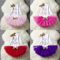 Wholesale baby girl tutu birthday outfit resale online - Spring Ins Baby girl st Birthday Outfits Long sleeve Infant Onesies Tutu bubble skirt Outfits Birthday party clothes Hotsale Boutique