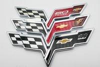 chevrolet çıkartmaları çıkartmaları toptan satış-Chevrolet için 1 adet 3D Amblem Corvette Çapraz Bayraklar Çıkartma Rozet Çıkartması Siyah Krom Kırmızı