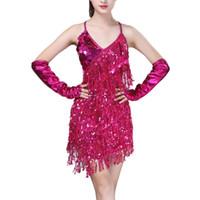 vestidos latin da dança do sequin do salão de baile venda por atacado-Desempenho Mulheres Dança Vestido Roupas Salsa Traje 3 pcs Set Straps Ballroom Competição Vestidos Latin Lantejoula para Meninas
