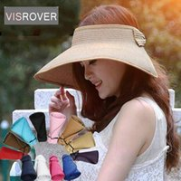 Wholesale large girls wide brim hats resale online - Visrover New Parent Child Foldable Wide Large Brim Sun Hat Spring Summer Visors Cap Beach Hats for Women Girl Bow Straw Hat