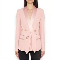 ingrosso blazer plus size women-Spring Autumn Outfit Blazer da donna Metal Double-breasted Belt Blazer Plus Size