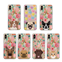 Wholesale dog cell phone cases online – custom Flower Dog Cute Phone Case Transparent Fashion Loves For Iphone Xs Max X TPU Soft Cell Phone Case For Iphone Plus