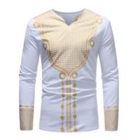 африканская одежда оптовых-Men's Shirt for African Clothes Print Dashiki Long Sleeve Dress 2019 News African Dresses for Women Male Fashion Bazin Clothing