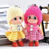 ingrosso bambole confuse-Commercio all'ingrosso Cinghie del telefono mobile Designer Plaid Gonna bambola confusa Charms telefono cellulare con cappuccio peluche Bambola Colore Casuale