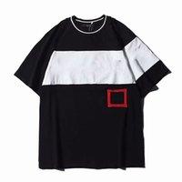 camiseta de lujo para hombre al por mayor-Camisa de lujo para hombre Bordado Contraste Patchwork camiseta Moda Diseñador de hombre Camiseta Casual Hombres Ropa Camiseta de manga corta y pantalones cortos