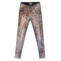 moda jeans mujeres pintan al por mayor-Pantalones Vaqueros Pintados Pantalones Vaqueros Bronceadores Mujer 2019 Primavera Otoño Nuevas Mujeres estrella de la moda Jeans de impresión