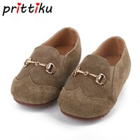 маленькие девочки оптовых-2018 Baby Toddler Girl Boy Real Leather Suede Loafers Little Kid Slip On Casual Flats Children Soft Fashion  Retro Shoes