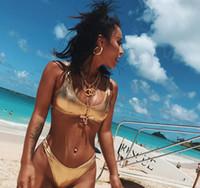 metal bikini quente venda por atacado-Novo estilo de biquínis das Mulheres de água diversão praia desgaste Sexy hot tecido de metal senhoras split bikini swimsuit