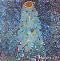 Wholesale sunflower abstract art paintings for sale - Group buy Handpainted Classical Abstract Art Oil Painting Gustav Klimt still life Sunflower On Canvas High Quality wall Art Home Decor l80
