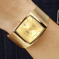 homens relógio bracelete de aço quadrado venda por atacado-2019 de ouro relógio de quartzo homens relógios relogio masculino top luxo pulseira de ouro relógios de pulso de aço masculino relógio whatches praça