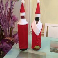 bez şişe kapakları toptan satış-Yaratıcı Dekoratif Noel Şarap Kostümleri Santa Bez ve Şarap Şişesi Için Şapka Noel Ev Dekorasyon Kapakları