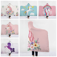 Wholesale wholesale animal print hats online - Unicorn Hooded Blanket Sherpa Cloak Dream Unicorn Blanket with Hood D Animal Printed Winter Warm Blanket With Hat KKA6238