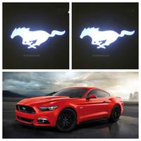 araba kapısı lazer gölge aydınlatma toptan satış-Gzhengtong 2 adet YENI Custom Made 3D Hayalet Gölge Araba Kapı Logo Mustang BMW için Led Lazer Projektör Işık vb.