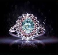 ingrosso anello topazio rosa-2019 New Pink Crystal CZ Donna Anelli di alta qualità Classic Ladies Fidanzamento Anelli di nozze femminile intarsiato topazio verde Anelli gioielli all'ingrosso