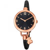 rodamiento mm al por mayor-Oso lindo simple Dial retro damas de pulsera regalo de oro rosa de plata de la moda de las mujeres TS Watche reloj femenino elegante pulsera Pequeño 2019 Marca
