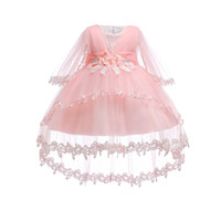 fildişi süsleme elbiseleri toptan satış-Ücretsiz Nakliye Pamuk Astar Bebek Elbiseleri 2018 Yeni Stil Fildişi Bebek Elbise Ile 1 Yıl Kız Doğum Günü Vaftiz Önlükler Için Tren