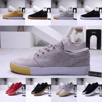 entrenadores de baloncesto de los hombres grises al por mayor-2020 ZOOM SB zapatos ocasionales de los deportes Stefan Janoski RM de baloncesto zapatillas de deporte de Triple S Negro Hombre Gris Formadores Diseñador Plate-forme zapato del monopatín