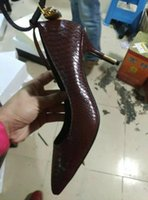 zapatos de vestir de caoba al por mayor-Envío gratis 2019 para mujer de charol 11 CM de tacón alto zapatos de vestir de serpiente de Metal llave de bloqueo del dedo del pie puntiagudo pillaje de caoba tamaño 35-42 01