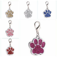 Wholesale customize dog collars for sale - Group buy Dogs ID Tags Creative Zinc Alloy Glitter Foot Print Pendant Pets Dog Collar Tag Pet Supplies Pendant Customized With Keyring LXL677