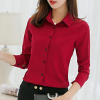 resmi gömlekler toptan satış-Ofis Bluz Kadınlar Yaz Şifon Bluzlar Gömlek Bayanlar Kızlar Casual Örgün Bluz Uzun Kollu Kadın Gömlek Blusa Feminina Tops