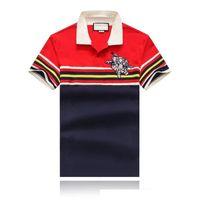polos amarillos hombres al por mayor-19SS Summer New Men's Wear Camiseta de diseño Frente Rojo Amarillo Azul Blanco Camiseta de diseño de solapa a rayas