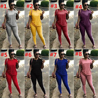Wholesale pink girl suit pieces online - Women Letter Printed Tracksuits Girls Short Sleeve Casual Two Piece Sets Student T shirt Leggings sportswear Jogger Suits Casual B03