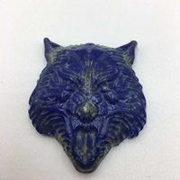 Wholesale china animal figurines resale online - Natural Lapis Lazuli Hand Carved Crystal Wolf Head Shaped Charm Crystal Gemstone Carving Reiki Healing Figurine as gift Home Decoration