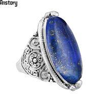 bantlı oniks toptan satış-Düzensiz Lapis Lazuli Yüzük Çiçek Bant Doğal Taş Antik Gümüş Kaplama Moda Takı TR664 Yüzükler