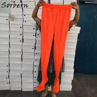 entrepierna plana al por mayor-Botas de pantalón plano Unisex Multi colores Custom entrepierna Muslo Botas largas Largas Populares Naranja Botas de tacón plano Mujer estirada