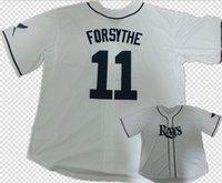 körfezi tabanı toptan satış-İndirim! Mens # 11 Logan Forsythe Tampa Bay jersey dikişli Beyaz Tampa Bay Logan Forsythe Serin Baz beyzbol Forması M-3XL
