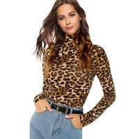 braune langarmhemd frauen großhandel-Hot Brown Highstreet Büro Dame Stehkragen Leopardenmuster Ausgestattet Pullover Langarm T Herbst Lässige Frauen T-shirt Top Shein