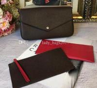 çantaları yazdır toptan satış-Klasik Kadınlar Tasarımcı Çanta Baskı Çiçekler 3 1 Zincir Çanta Gerçek Deri Cüzdan Kart Crossbody Çanta Omuz Messenger Cüzdan çanta