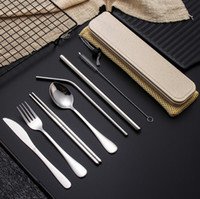 Wholesale kitchen utensils sets for sale - Group buy Stainless Steel Flatware Set Portable Cutlery Set For Outdoor Travel Picnic Dinnerware Set Metal Straw With Box And Bag Kitchen Utensil