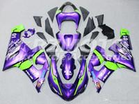 zx6r tam kiti toptan satış-Kawasaki Ninja 636 ZX6R 2005 2006 motosiklet kaporta vücut özel Purple İçin Sıcak Tam Yeni ABS motosiklet kaporta kiti