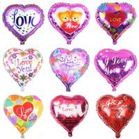 kalp şeklinde helyum balonu toptan satış-18 inç şişme hava balonları kalp şekli helyum balon düğün dekorasyon folyo balonlar aşk balonlar toptan